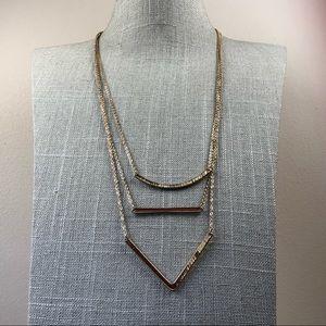 Jewelry - Delicate Gold tone triple strand chevron necklace